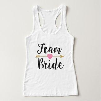 Team Bride | Glitter-Print Black Tank Top