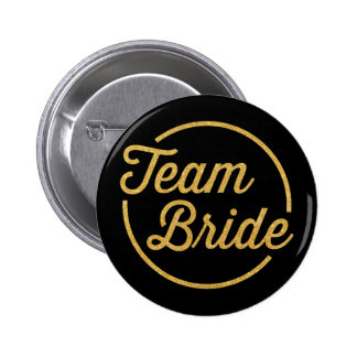 {Team Bride} Glittery Gold 6 Cm Round Badge