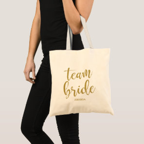 Team Bride Gold Glitter Bridesmaid Bachelorette Tote Bag