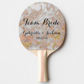 Team Bride Groom Modern Rose Gold Marble Wedding Ping Pong Paddle