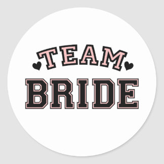 TEAM BRIDE HEARTS CLASSIC ROUND STICKER