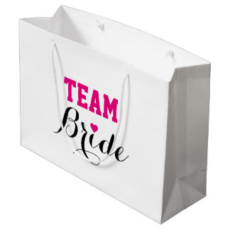 Team Bride Hot Pink Heart Gift Bag Large