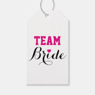 Team Bride Hot Pink Heart Gift Tags