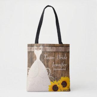 Team Bride In Rustic Wood Sunflower Style Tote Bag