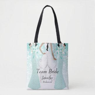 Team Bride in Teal Tote Bag