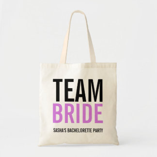 Team Bride Lilac Bachelorette Party Budget Tote Bag