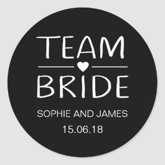 Team Bride Personalised Classic Round Sticker