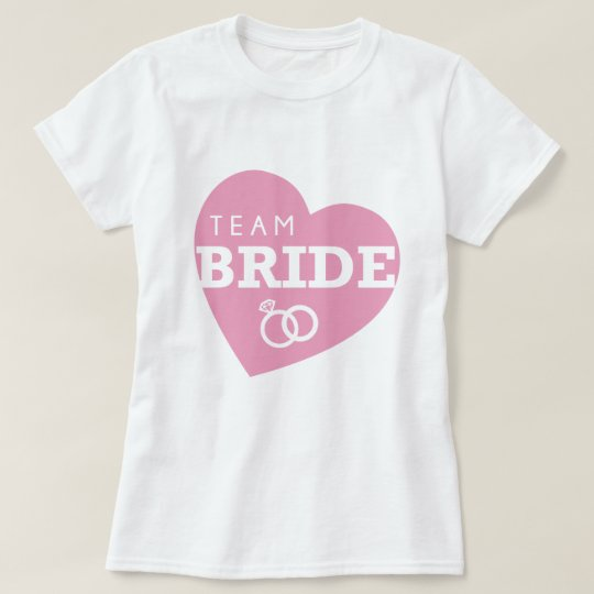 Team Bride Personalised Party Pink Heart Tops Tees