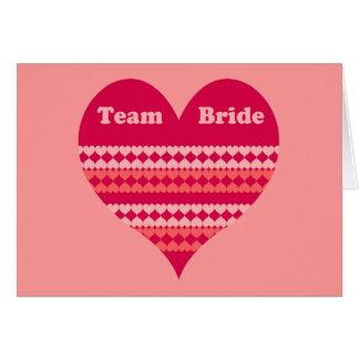 Team Bride pink heart Cards