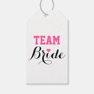 Team Bride Pink Heart Gift Tags
