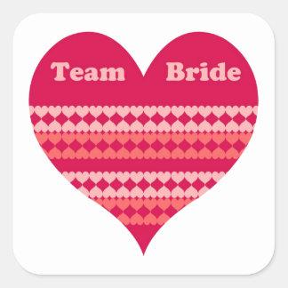 Team Bride (pink heart) Square Sticker