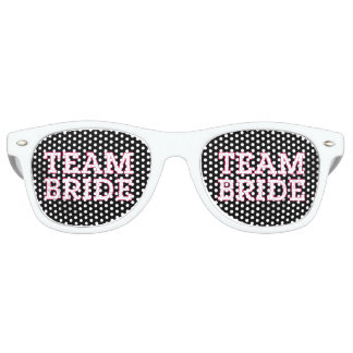 Team Bride Pink Outline Black Retro Sunglasses