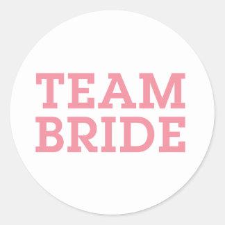 Team Bride Pink Round Sticker