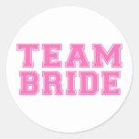 Team Bride (Pink) Round Stickers