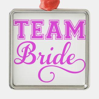 Team Bride, pink word art text design for t-shirt Christmas Ornament