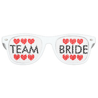 Team bride red hearts bachelorette party shades