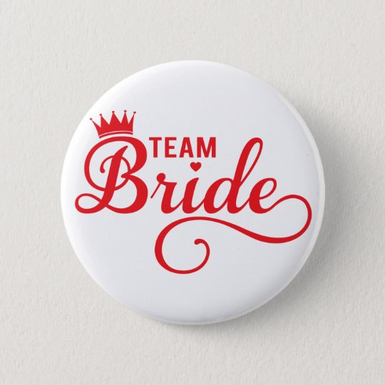 Team Bride, red word art text design for t-shirt 6 Cm Round Badge