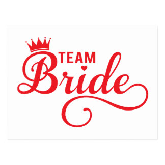 Team Bride, red word art text design for t-shirt Post Cards