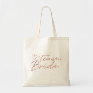 Team Bride - Rose Gold faux foil tote bag