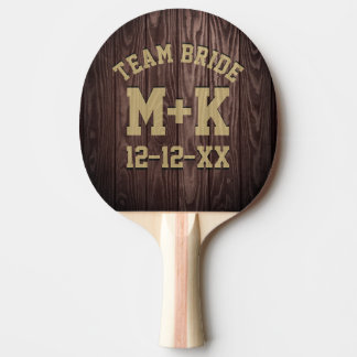 Team Bride Rustic Wedding Ping Pong Paddle