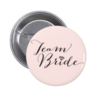 Team Bride Script Diamond Wedding Bridal Party 6 Cm Round Badge