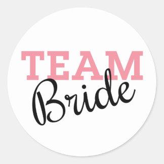 Team Bride Script Round Sticker