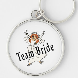 Team Bride Silver-Colored Round Key Ring
