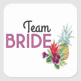 Team Bride Stickers Pineapple Luau Aloha Party