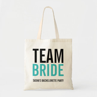 Team Bride Turquoise Bachelorette Party Tote Bag