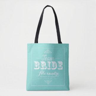 TEAM BRIDE Typography Wedding Party Tote (aqua)