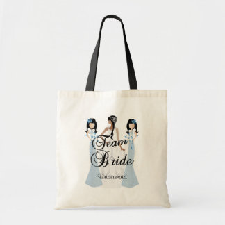 Team Bride | Wedding | Blue | DIY Text Budget Tote Bag
