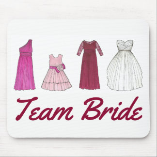 Team Bride Wedding Bridal Party Gown Dress Mouse Mat
