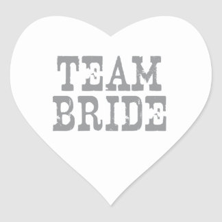 Team Bride Western Grey Heart Sticker