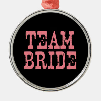 Team Bride Western Pink on Black Silver-Colored Round Decoration