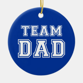 Team Dad in blue Round Ceramic Decoration