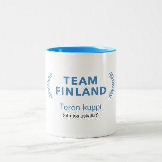Team Finland + name Two-Tone Coffee Mug