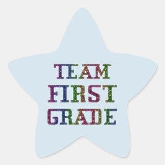 Team  First Grade, Blue Novelty School Stickers