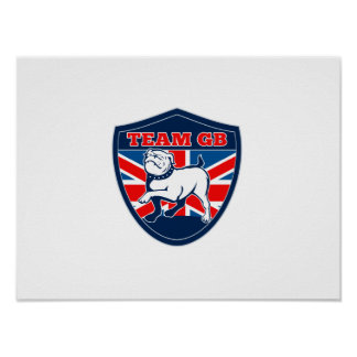 Team GB English bulldog British sports team shield Poster