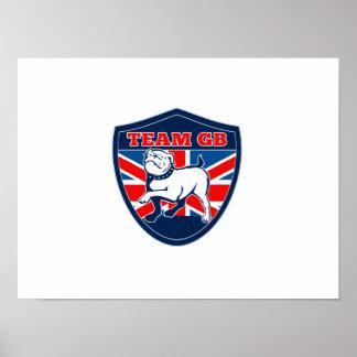 Team GB English bulldog British sports team shield Poster