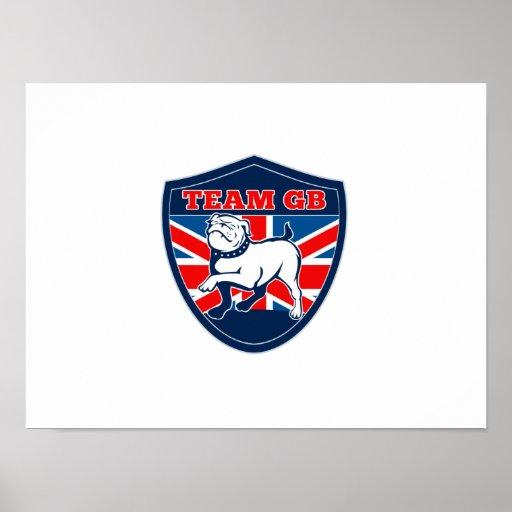 Team GB English bulldog British sports team shield Print