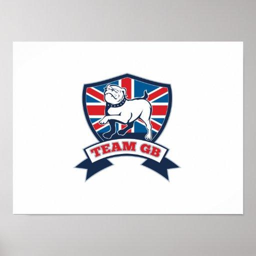 Team GB English bulldog team shield and scroll Poster