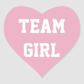 TEAM GIRL Baby reveal Sticker, Baby Shower Heart Sticker