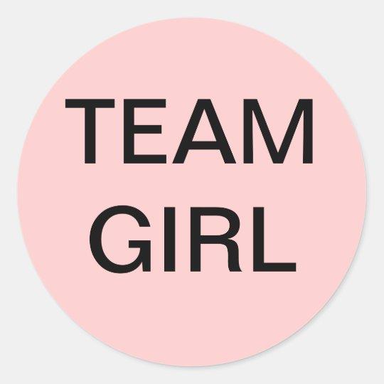 Team Girl Baby Shower Classic Round Sticker