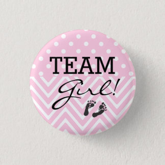 Team Girl Baby Shower Pink 3 Cm Round Badge