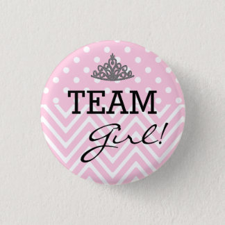 Team Girl Baby Shower Polka Dot Chevron 3 Cm Round Badge