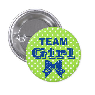 Team Girl Blue With Green Polka Dots Baby Shower 3 Cm Round Badge