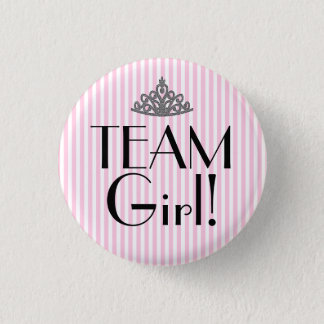 Team Girl Stripes Pink Baby Shower 3 Cm Round Badge