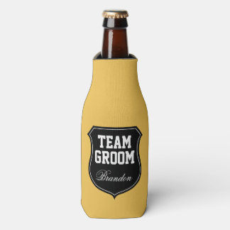 Team Groom and Bride wedding party bottle coolers