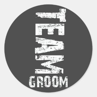 Team Groom Extra Large Grunge Text Classic Round Sticker