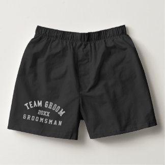 Team Groom Groomsman Black Boxer Shorts Boxers